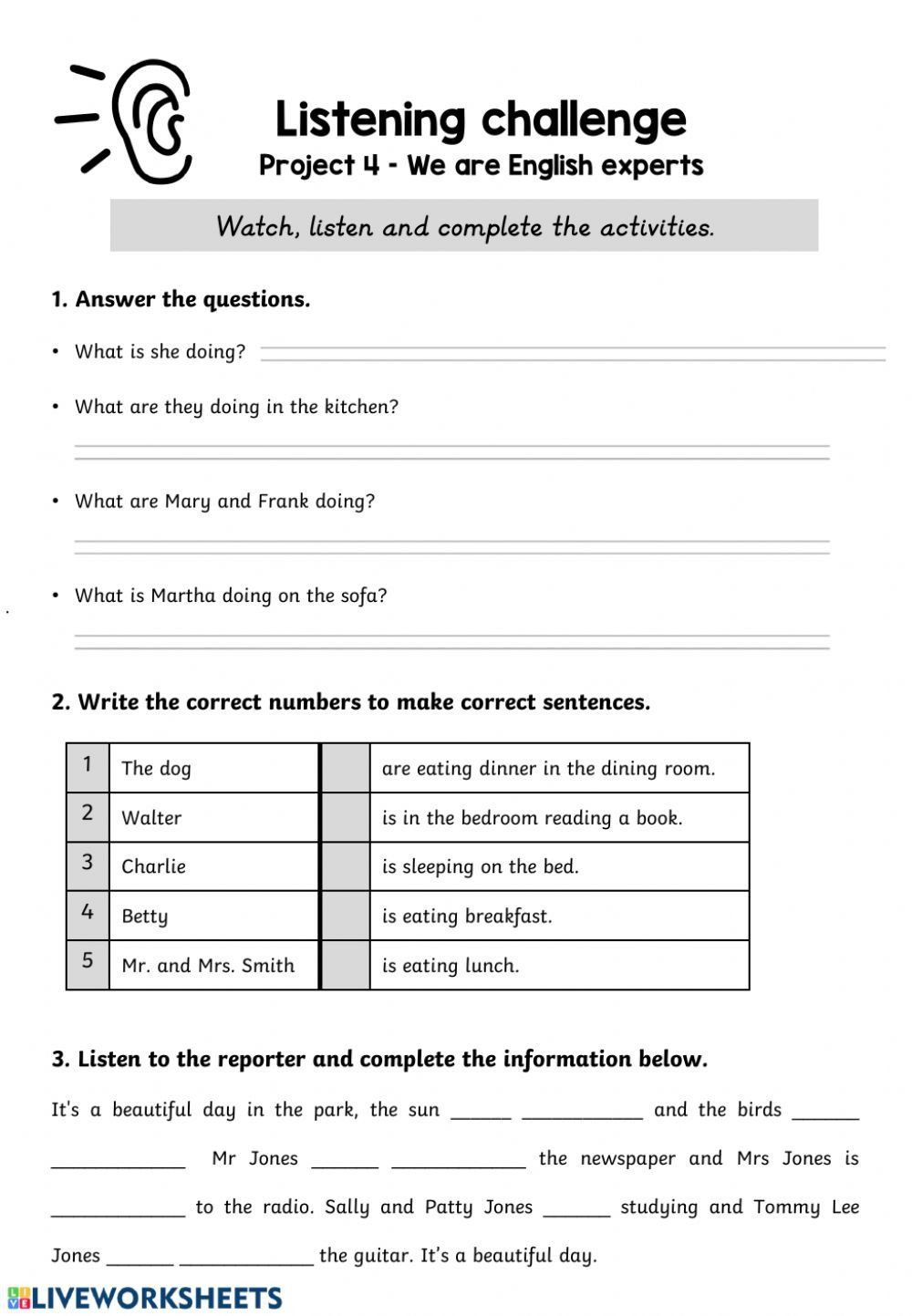 Present Progressive Spanish Worksheet Answers Present Progressive Listening Prehension Interacti In 2020 Listening Comprehension Comprehension Comprehension Worksheets