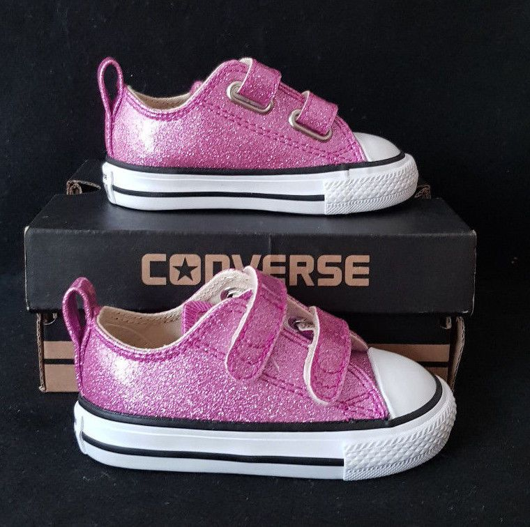 7a96b506d6fc New Converse All Star Ox Sparkle Infant Girls Bright Violet Glitter Size US  4  fashion
