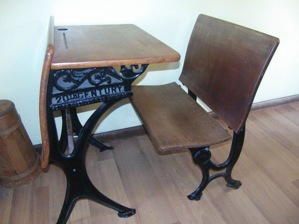 Antique Sears Roebuck 20th Century Cast Iron Student School Desk Seat School Desks Irons