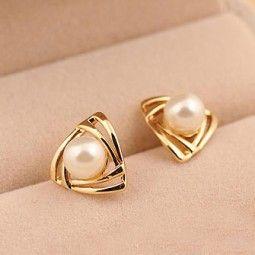 Cute Triangle Pearl Earring Studs