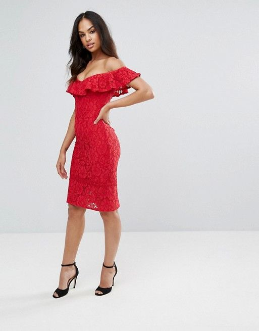 Clearance Really Lace Pencil Dress With Frill Overlay - Red Little Mistress Discount Explore Discount Marketable absqV9yUP5