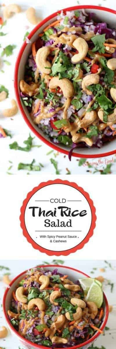 An easy side dish to take to picnics, potlucks or just enjoy at home is this recipe for cold Thai rice salad. This rice salad with cashews has a spicy peanut sauce that you will want to eat off the spoon!