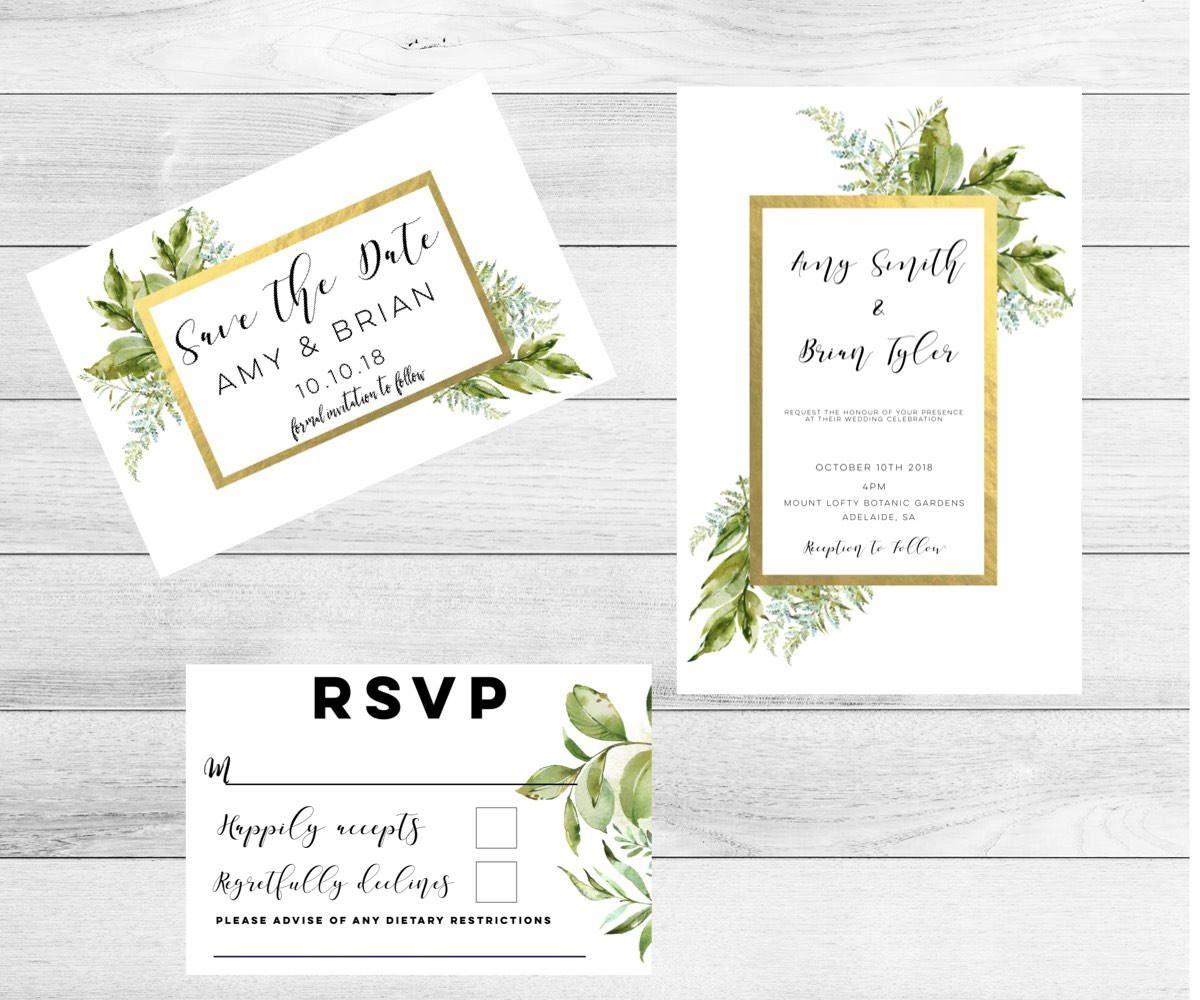 Greenery Wedding Invitation-Wedding Invitation set-Wedding ...