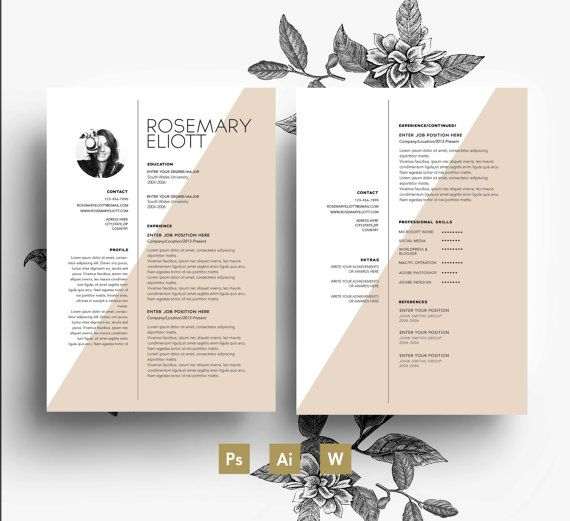 Creative template Business card CV template Cover letter easy