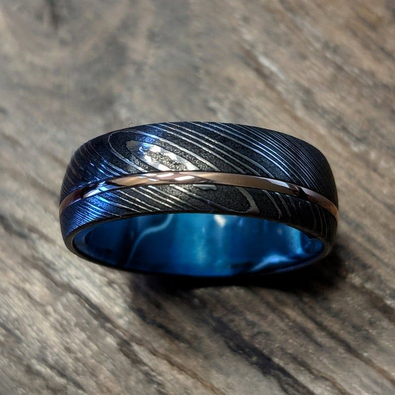 Mens Wedding Band Damascus Steel Ring 14k Rose Gold Blue
