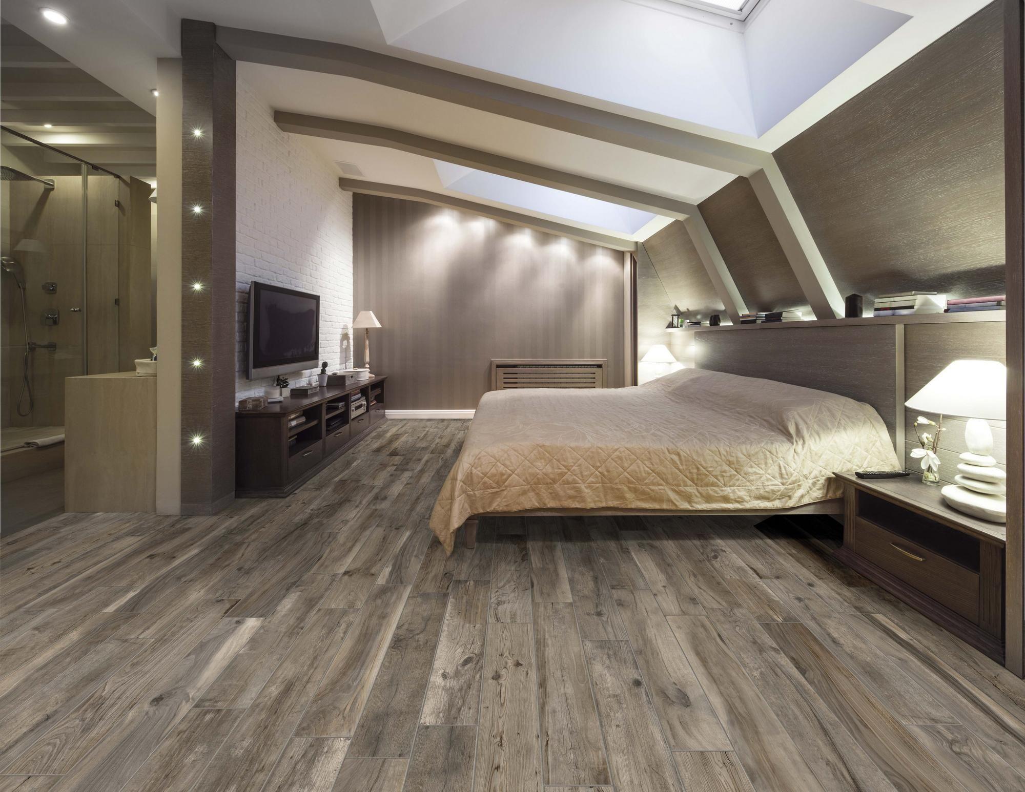 Soft Ash Wood Plank Porcelain Tile Remodel Bedroom Attic Master