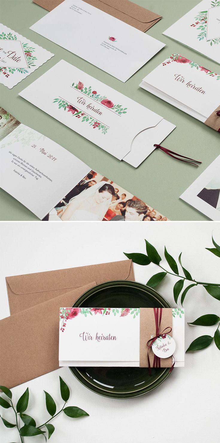 Tischkarten Hochzeit Bloomy