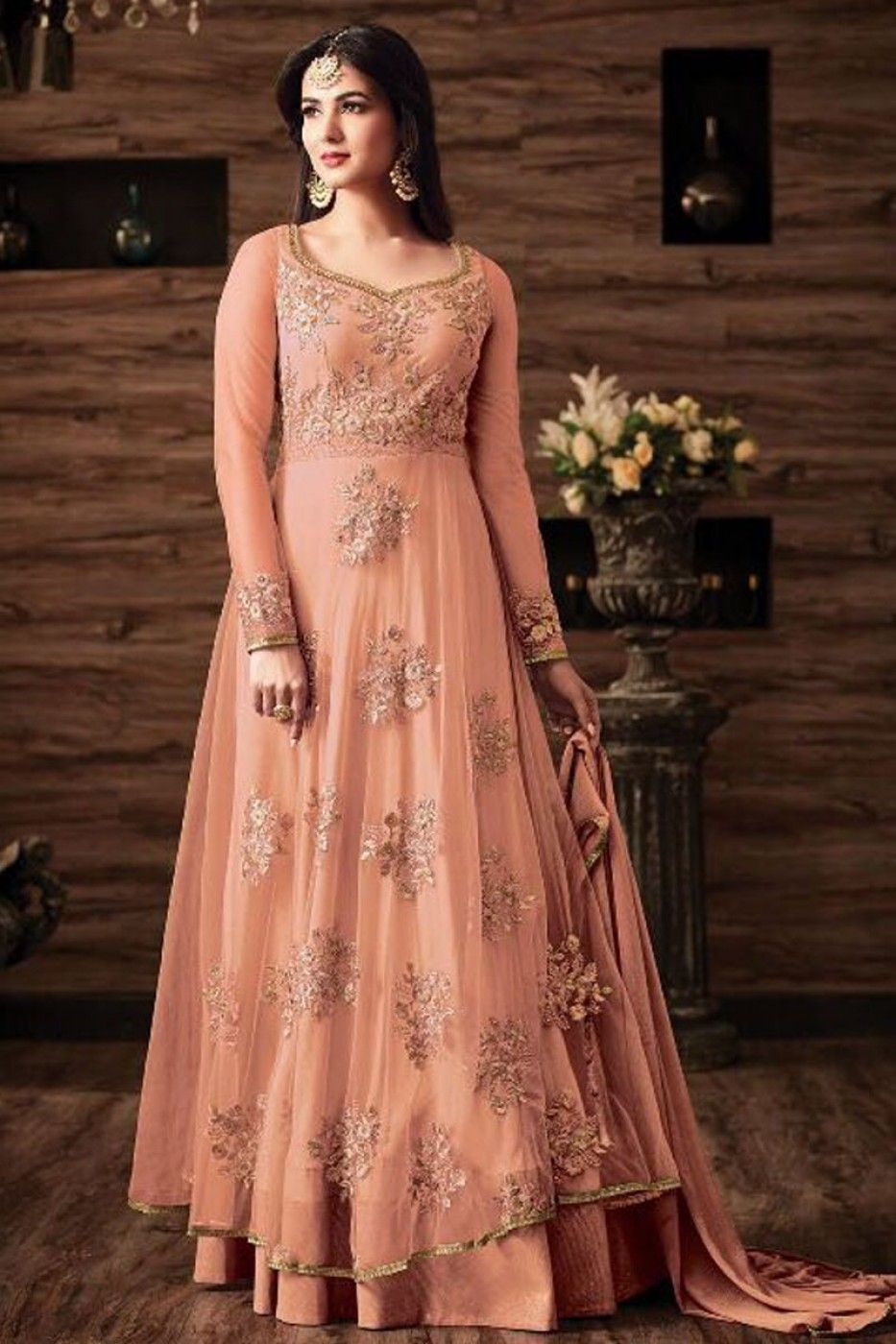 4e288a1b05 Peach Color Net Fabric Embroidered Wedding Wear Stylish Indian Occasionally  Look Sonal Chauhan Heavy Anarkali Suit