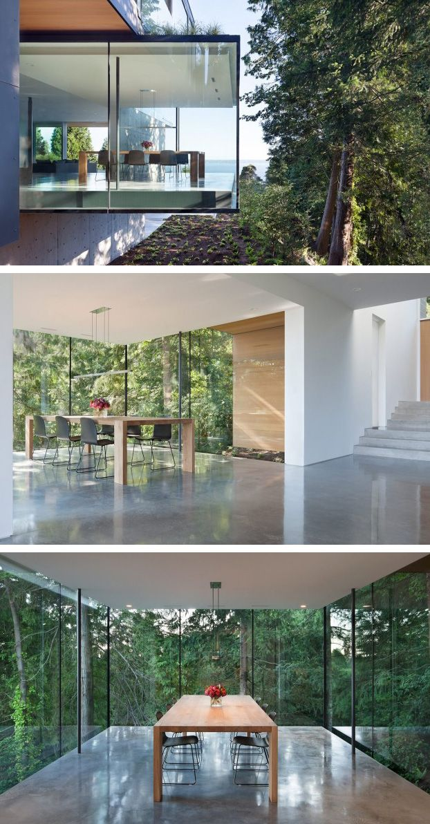 This Home In Vancouver Canada Features A Glass Enclosed Dining Room Wnetrza Jadalnie