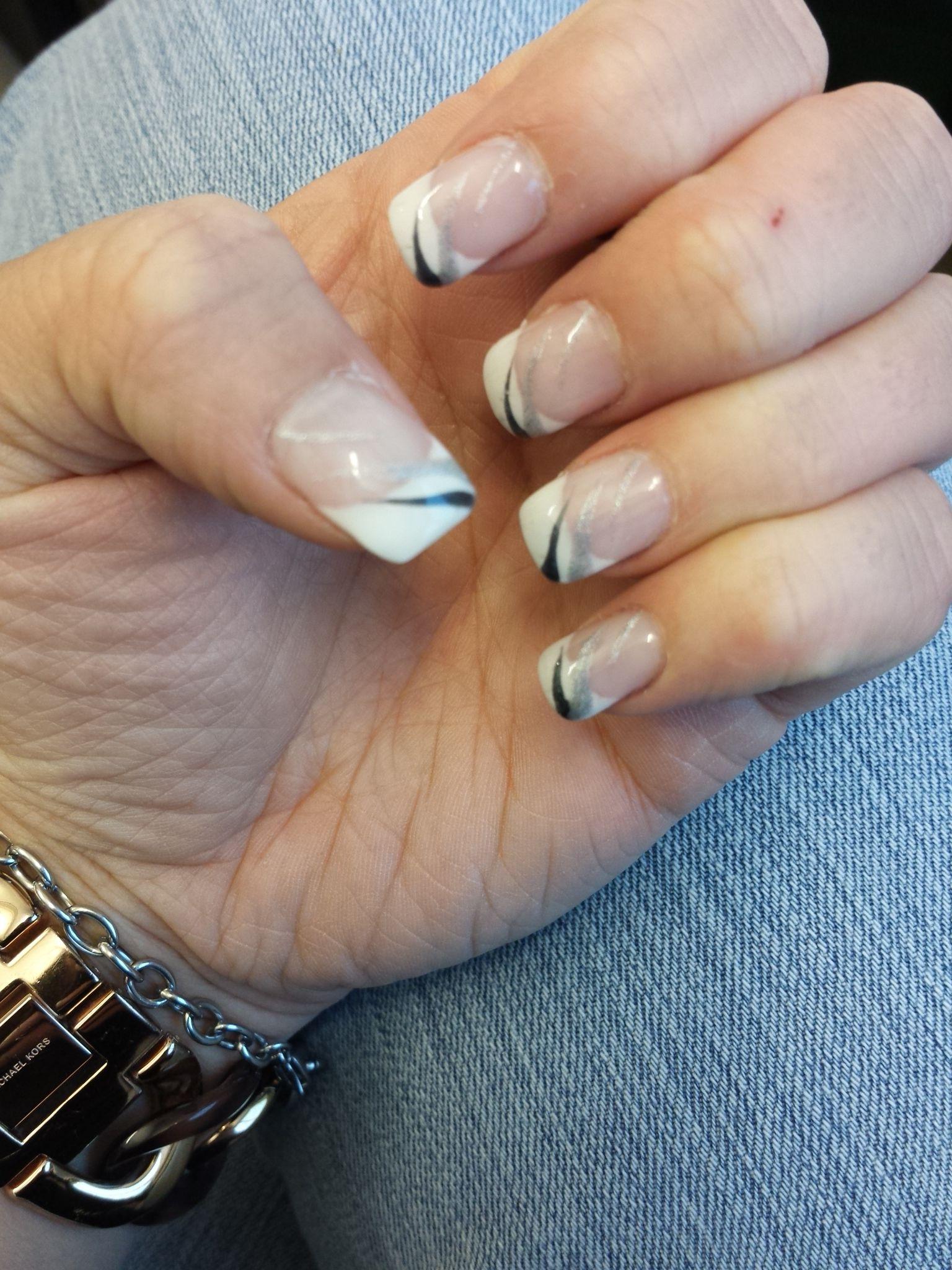 Nail, nails, French nail, design, idea manicure, White & silver & black & glitter