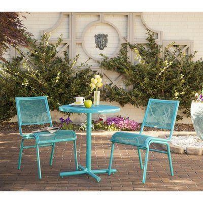 Liberty Garden Patio Bixby 3 Piece Bistro Set Color Turquoise in