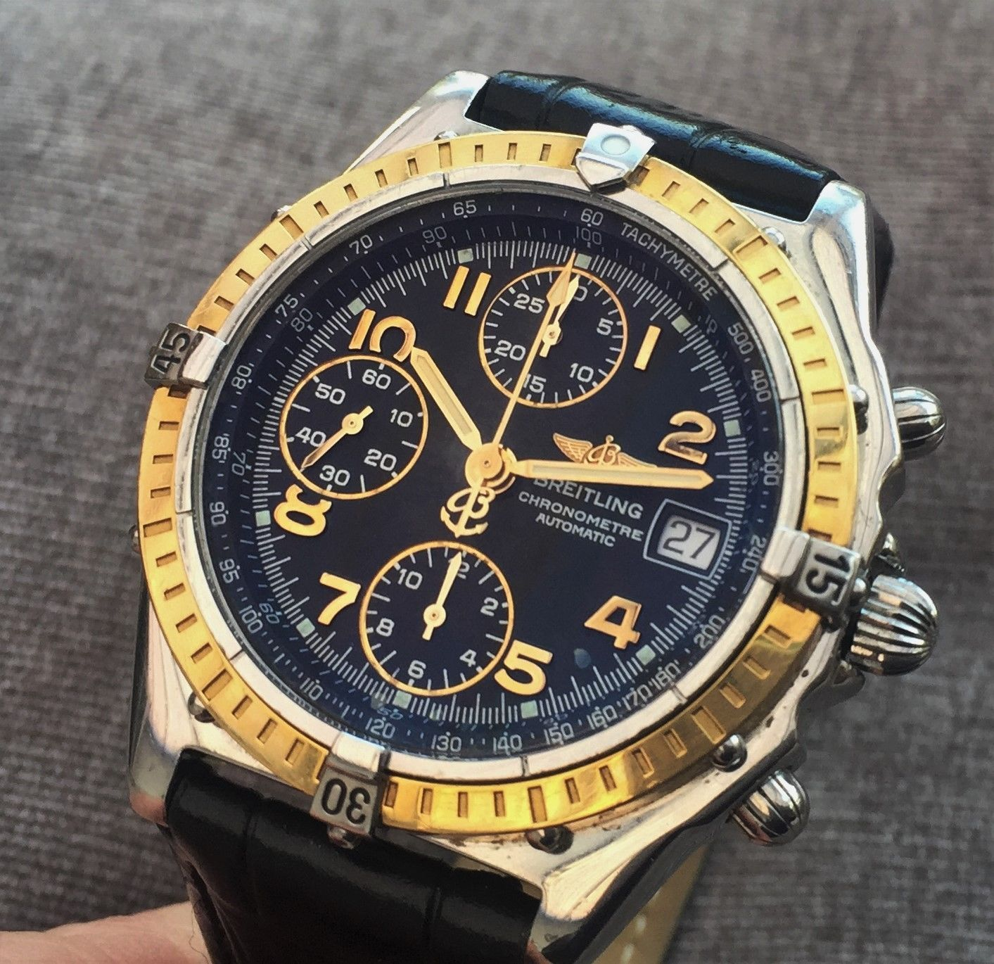 Gents Stunning Breitling Chronomat With Solid Gold Bezel 40mm
