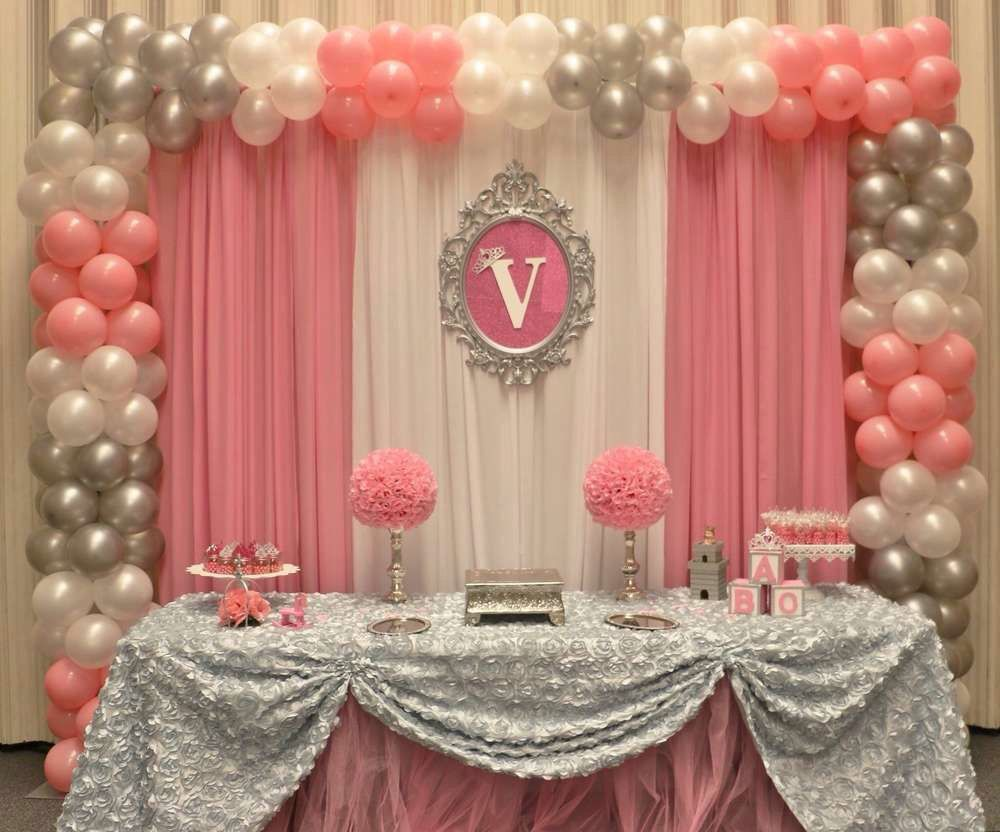 Pink and grey theme with balloons and fabric parties for Baby themed fabric