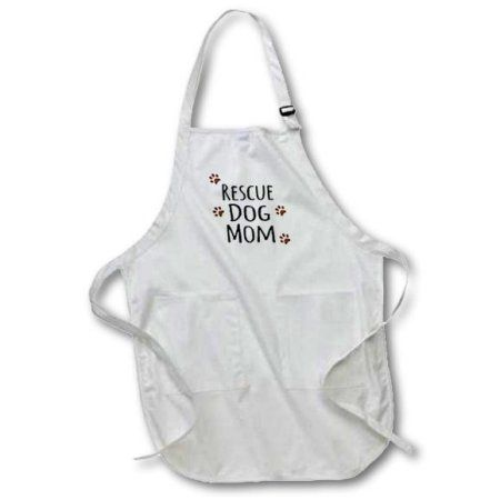 3dRose Rescue Dog Mom - Doggie by breed - muddy brown paw prints - doggy lover - proud pet owner mama love, Medium Length Apron, 22 by 24-inch, With Pouch Pockets