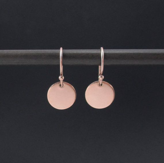 Tiny Rose Gold Earrings Small Circle 14k Pink Filled Dangle Disc Minimalist Everyday