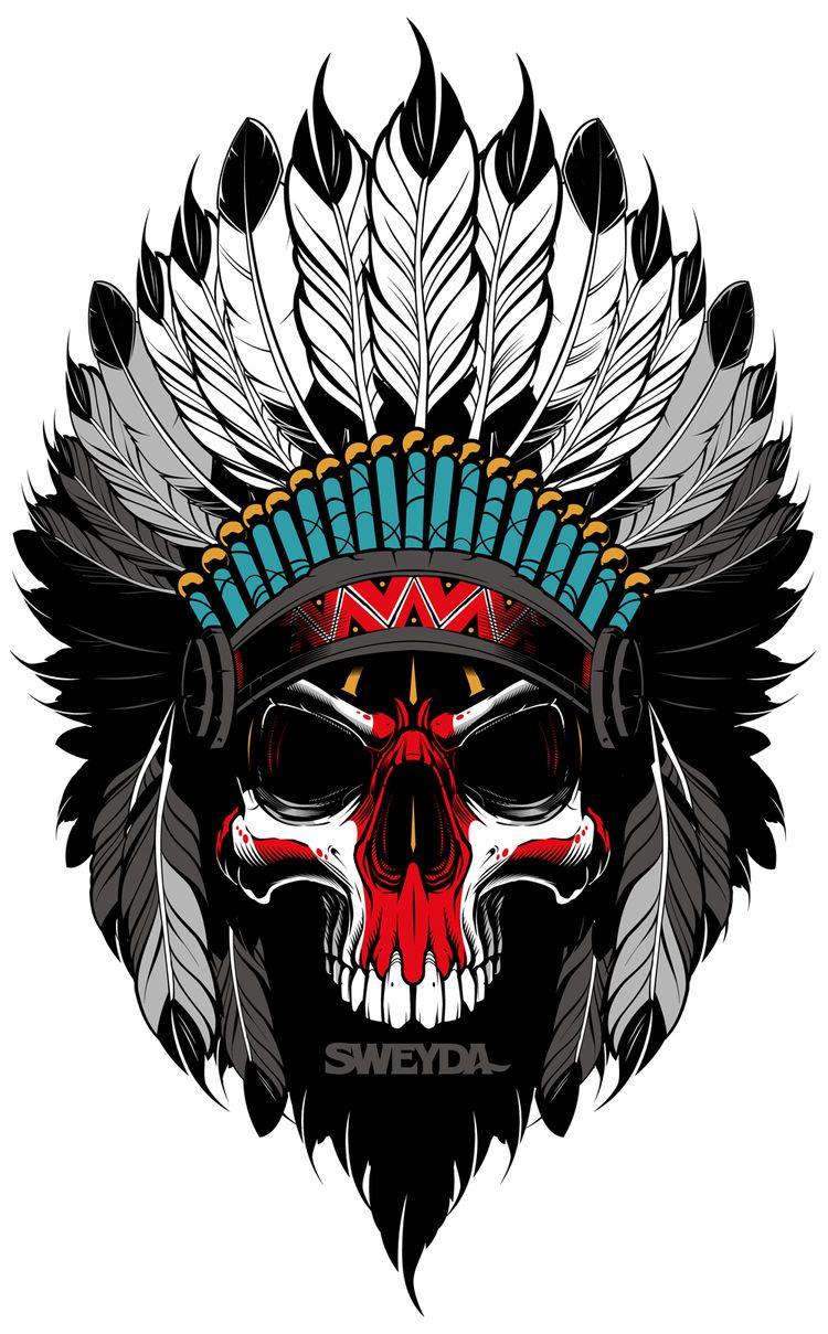 Vector indian, vector illustration, vector skull, sweyda