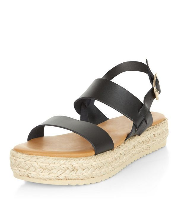 Black Leather Chunky Espadrille Sandals