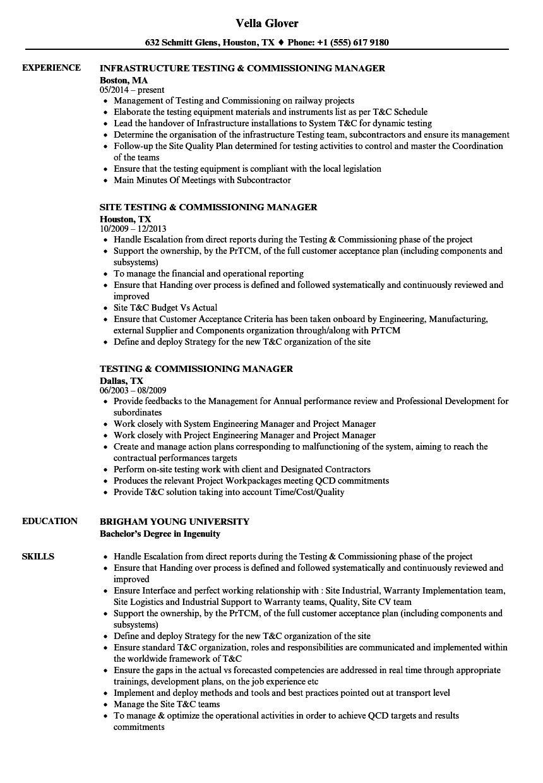 testing  u0026 commissioning resume samples in 2020