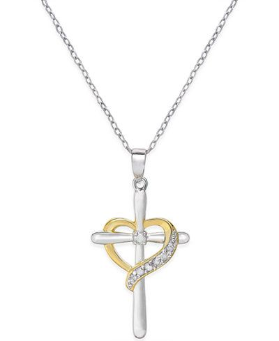 Diamond Cross Heart Pendant Necklace (1/10 ct. t.w.) in Sterling Silver and 18K…