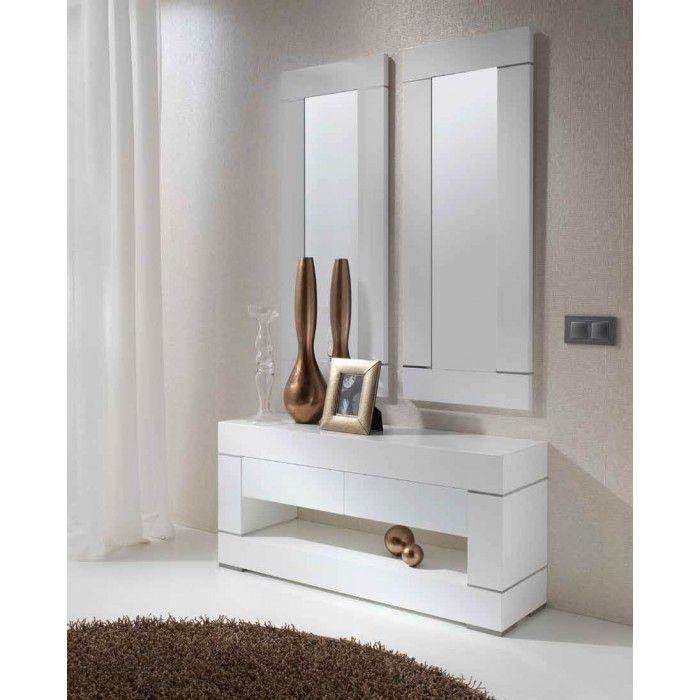 Recibidor moderno recibidor moderno lacado recibidor en for Espejos de salon conforama