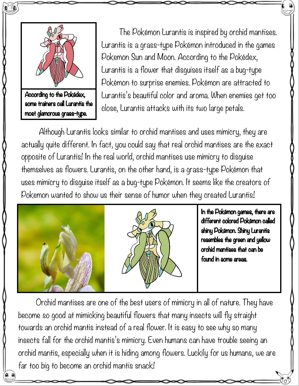Pokemon Close Read And Worksheets Activities Orchid Mantis And Lurantis Pokemon Orchid Mantis Close Reading [ 1271 x 984 Pixel ]