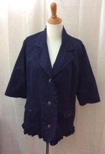 AMI Plus Size 1X Blue Jacket 3/4 Sleeve Light Weight Ruffle Detail