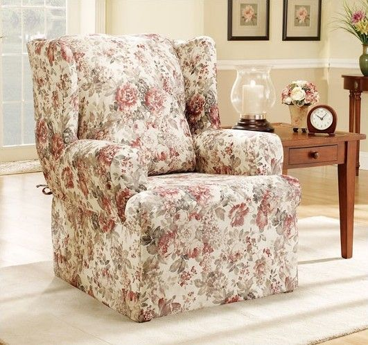 Sure Fit Chloe Floral Wing Chair T Cushion Skirted Slipcover & Reviews | Wayfair