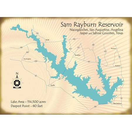 map of sam rayburn lake Lake Map Of Sam Rayburn Lake Texas Lake Signs Lake Map Lake Art map of sam rayburn lake