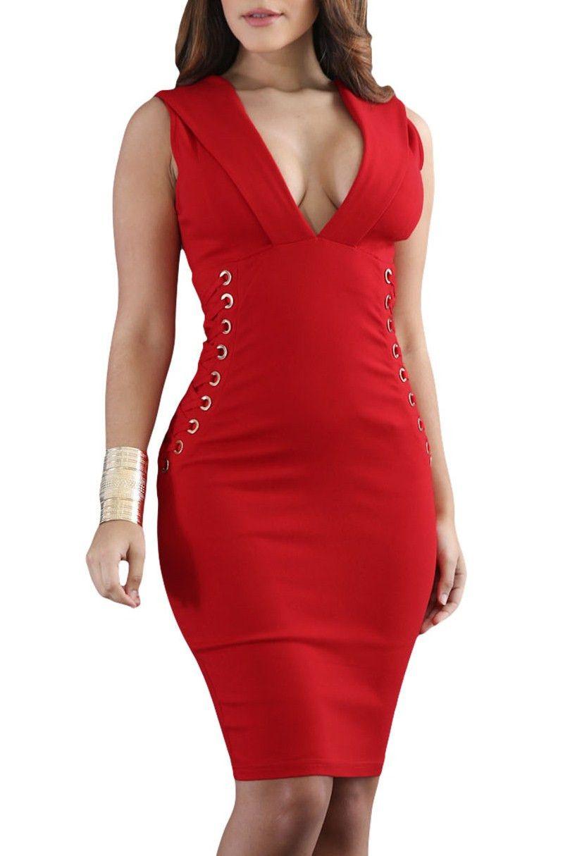 Robe Moulante Rouge Lacets Elle Cote Col en V Sans Manches Pas Cher  www.modebuy.com  Modebuy  Modebuy  Rouge  Rouge  robes  me f849ac81c83b