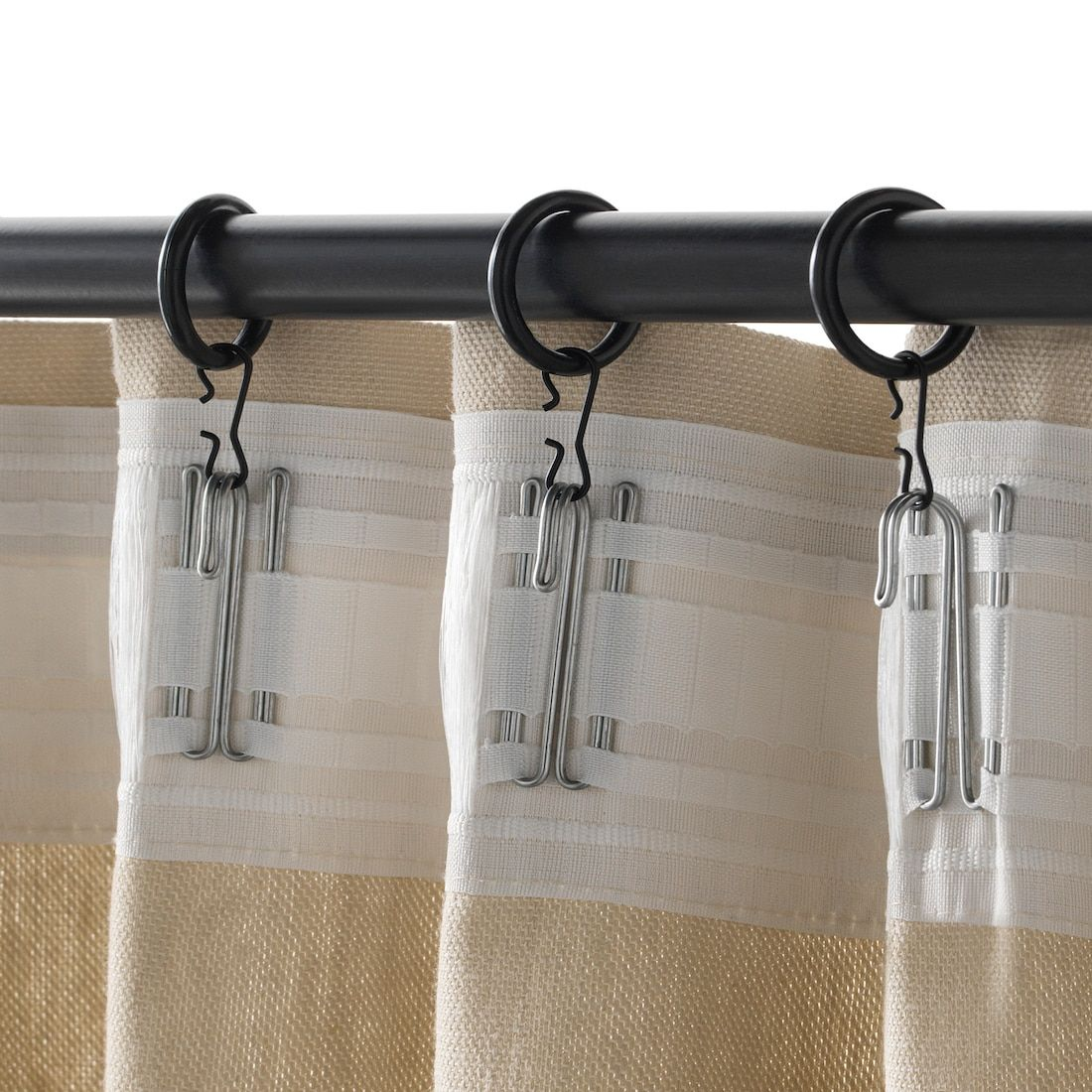 Syrlig Curtain Ring With Clip And Hook Black 1 Ikea In 2020 Curtains With Rings Curtain Rings With Clips Curtains
