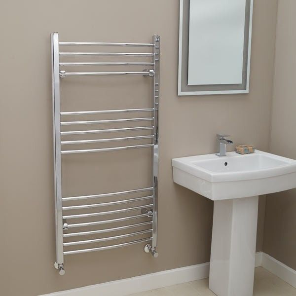 Eco Heat 1200 X 600 Curved Chrome Heated Towel Rail Heated Towel Rail Towel Rail Heated Towel