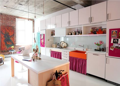 modern kitchen & painting, exposed brick, open shelves, hot pink cabinet curtains and sink skirt