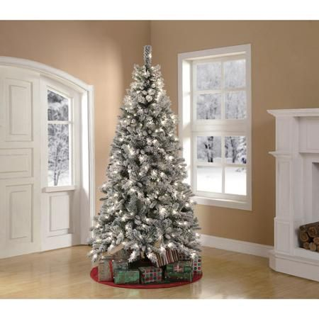 Holiday Time Pre-Lit 7.5' Winter Frost Pine Artificial Christmas ...