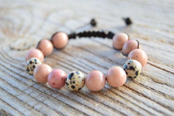 Rhodochrosite bracelet emotional healing bracelet by AzzurroStela