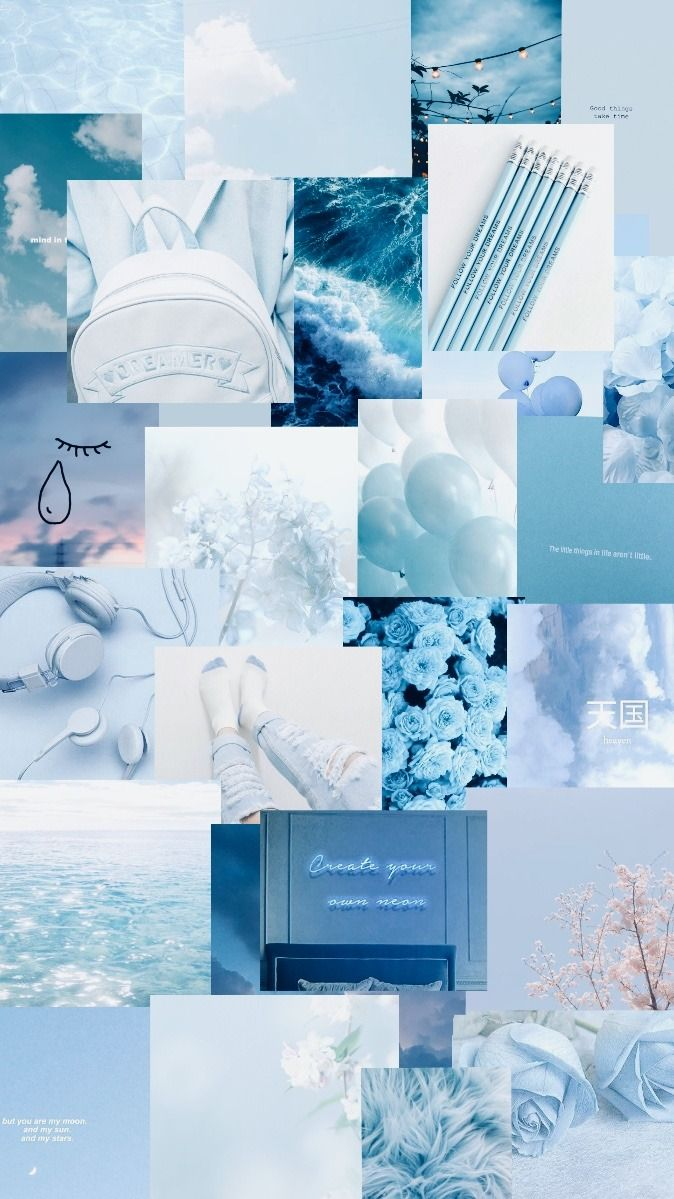 aesthetic blue wallpaper aestheticwallpaper collage