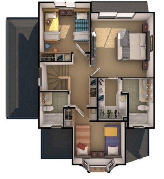 Planos de casas de 3 pisos casa ideal pinterest for Planos casas sims