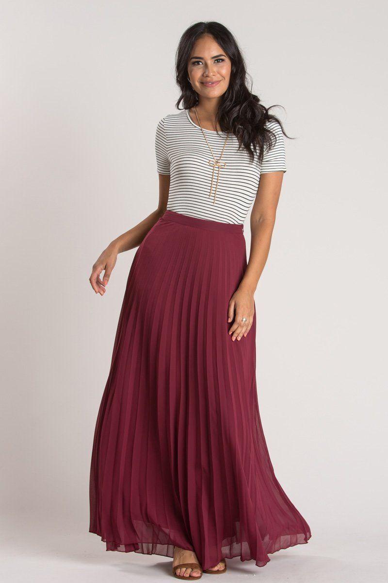 02d73a1fb14 Petite Simone Burgundy Pleated Maxi Skirt