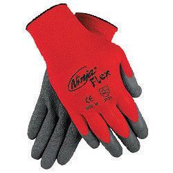 Memphis X-Large Ninja Flex 15 Gauge Gray Latex Dipped Palm Coated Work Gloves With Nylon Liner And Knit Wrist