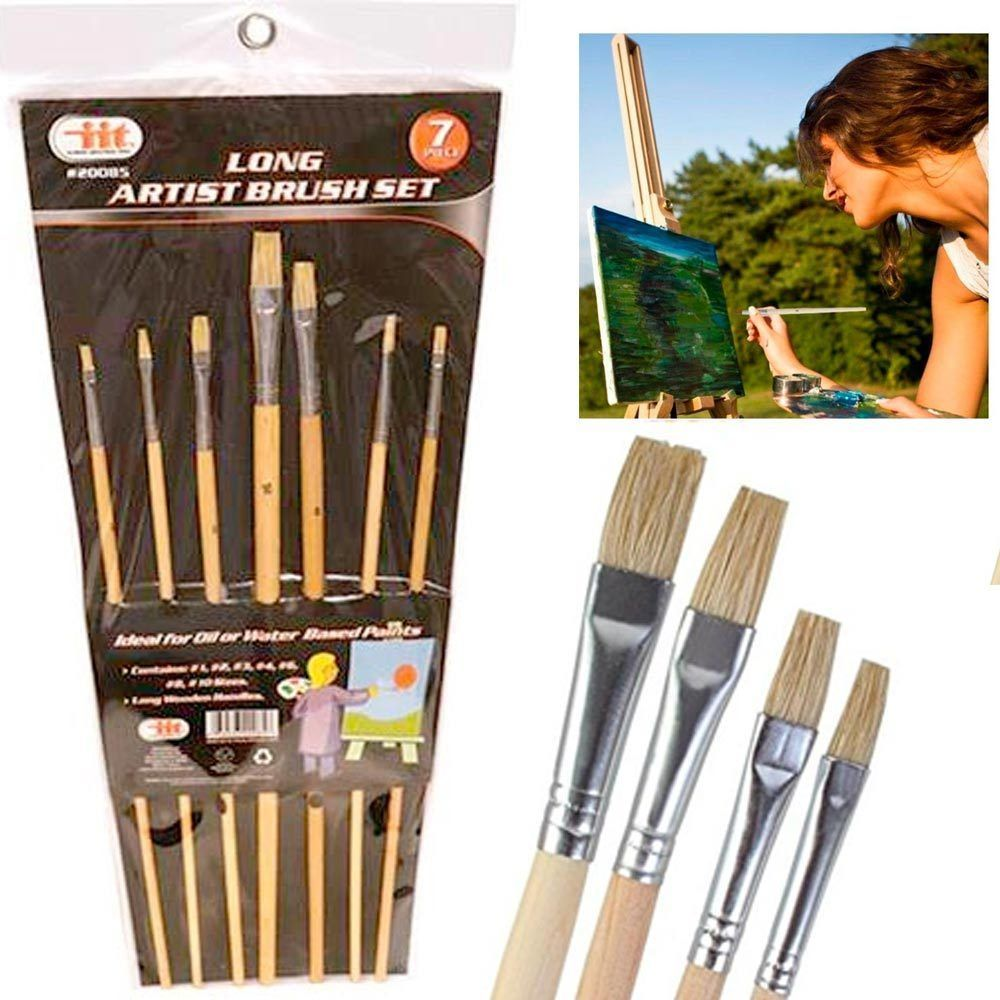 7 pc long wooden paint brushes artist oil watercolor