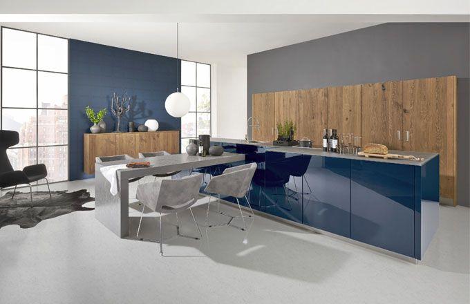 Kuchyňská sestava Nova Lack, odstín Tiefblau, dřevo, MDF vysoký lesk ...
