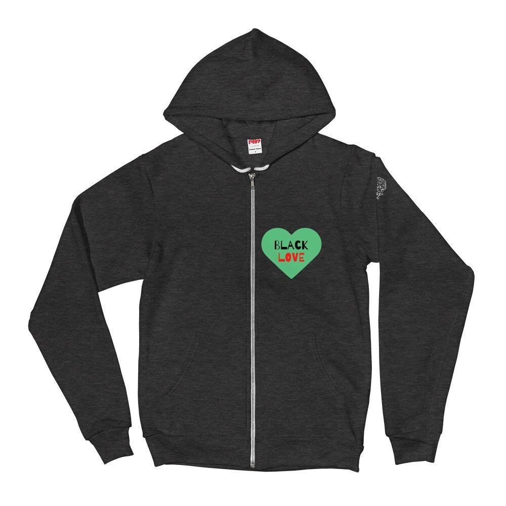 Black Love Zip Up Hoodie – Dark Heather Grey / M