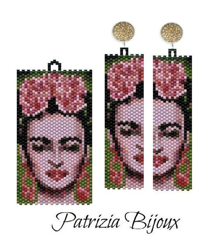 Peyote parure – Earrings and pendant Frida Inspiration pattern – Odd peyote technique with Delica Miyuki 11/0 – Pattern 491