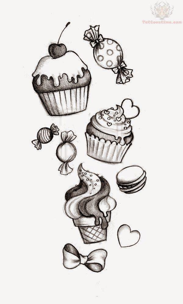 Cute Drawings: Cupcakes, ice creams and cakes (Cupcakes, ice creams and cakes)#cakes #creams #cupcakes #cute #drawings #ice