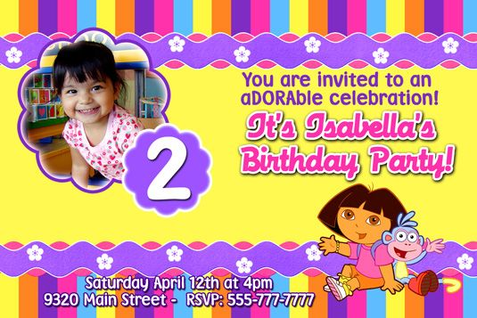 dora the explorer invitations | victorias party | pinterest, Birthday invitations