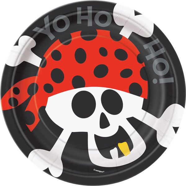 Pirate Fun 7 Inch Dessert Plates - Fast Shipping - 8 per package