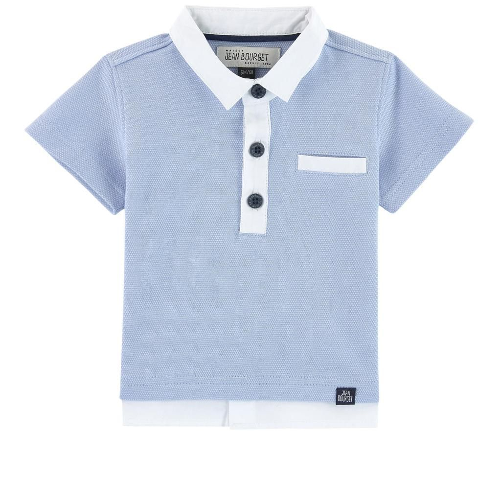 Jean Bourget Boys Pique Polo with Welt Pocket Blue Baby Toddler ... d25ff50287c79