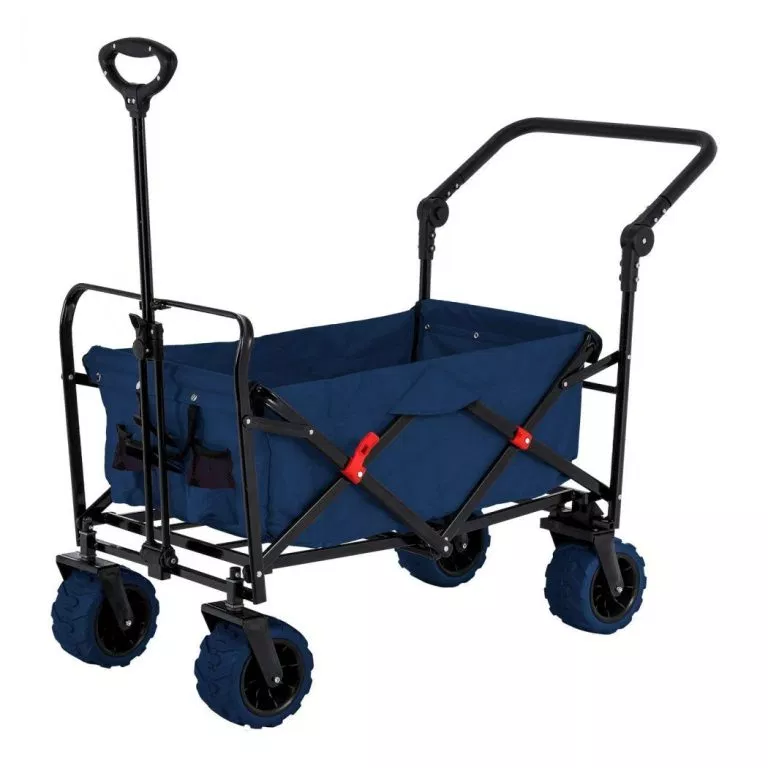 Folding Push Wagon Cart Collapsible Utility Camping Grocery Canvas Fabric Sturdy Portable Rolling Lightweight Buggies Outdoor Garden Sport Picnic Heavy Duty Shopping Cart Wagons With Wide Wheels Blue