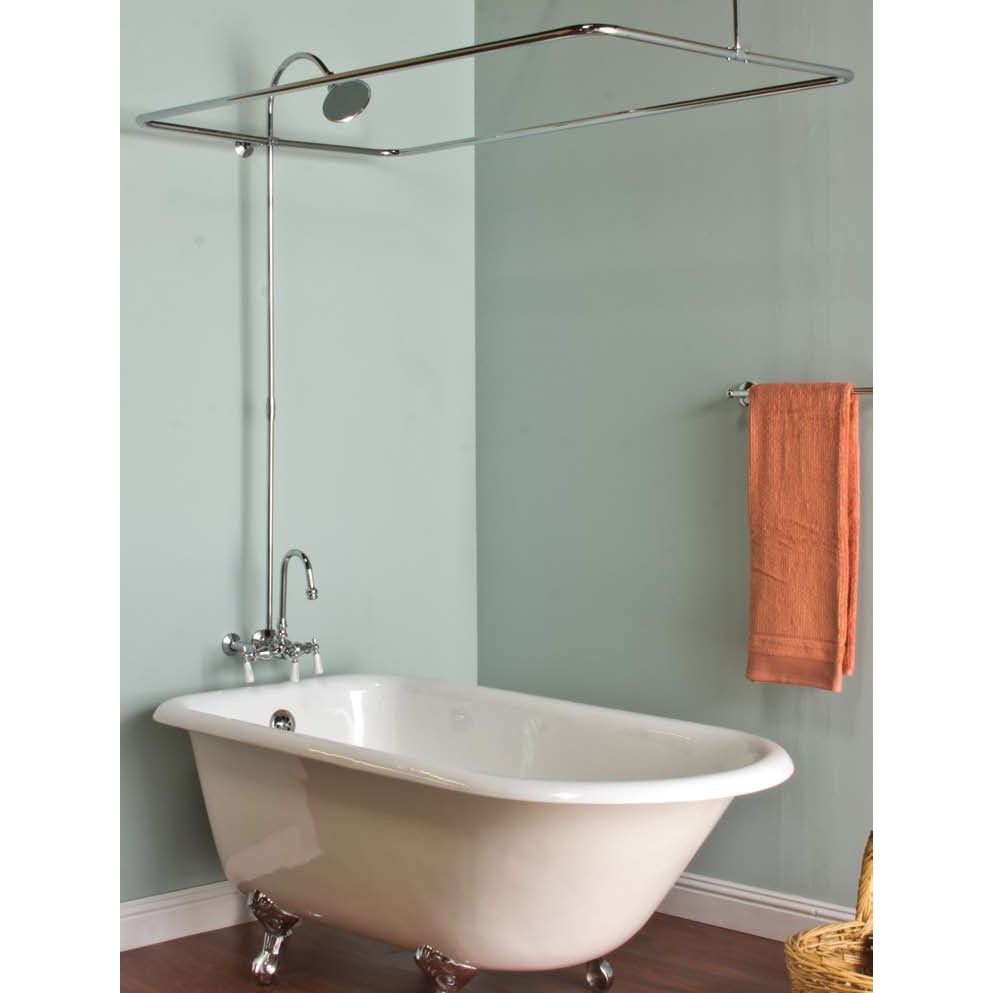 Clawfoot tub shower curtain rod kit shower curtain pinterest