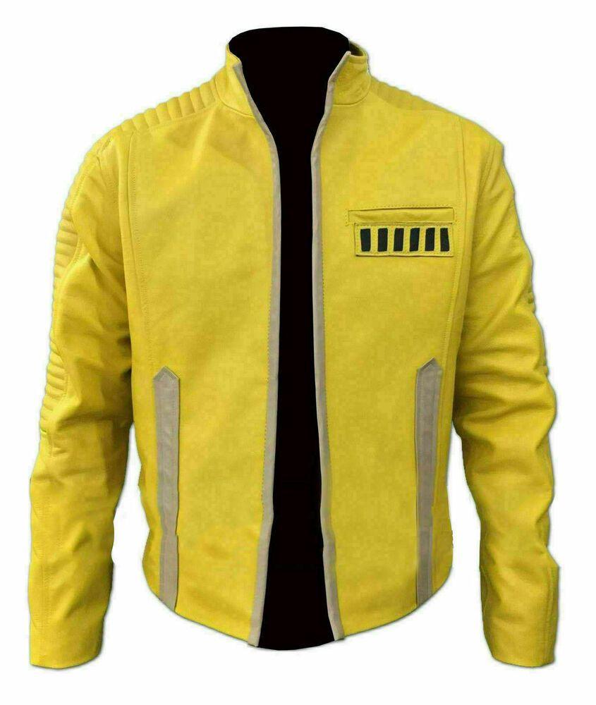 Yellow Jacket For Men Slim Fit Biker Bomber Motorcycle Star Wars