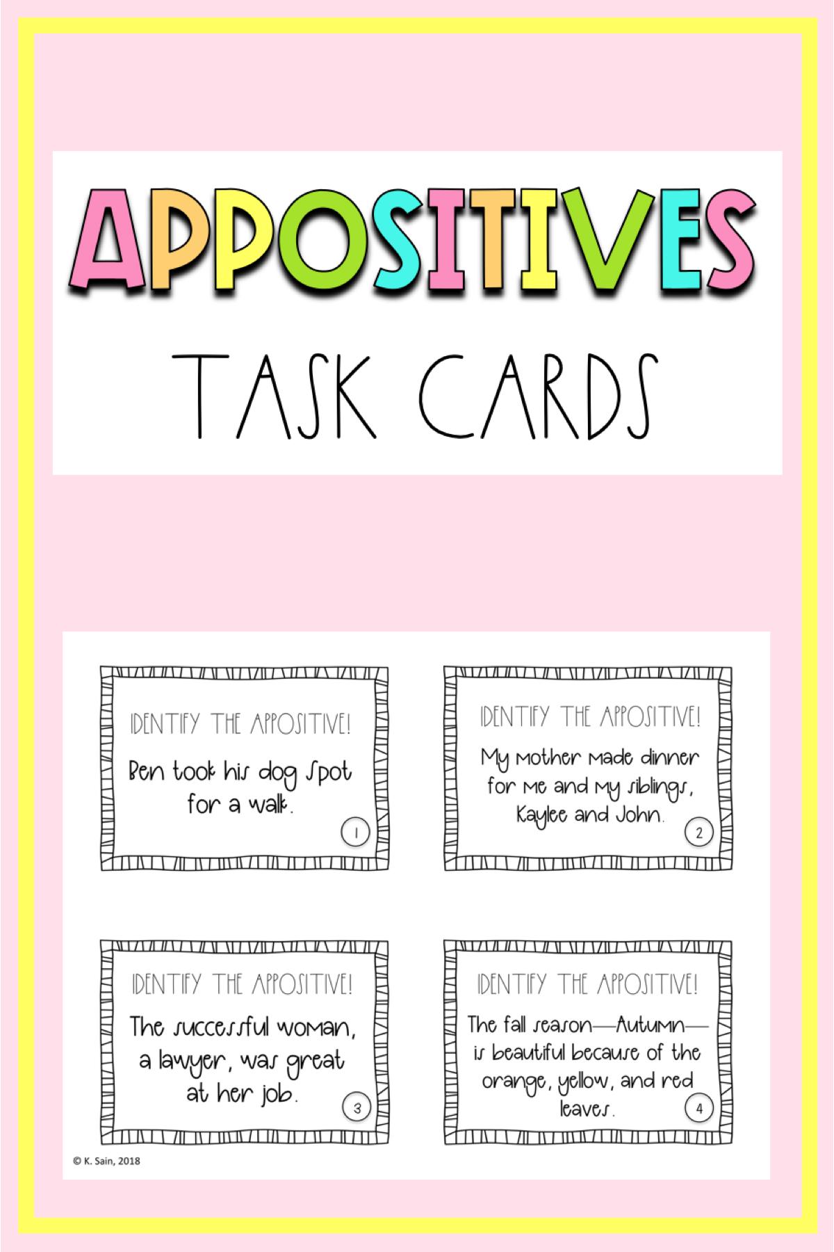 Appositives Grammar Task Cards (Grades 6-12)   Grammar task cards [ 1800 x 1200 Pixel ]